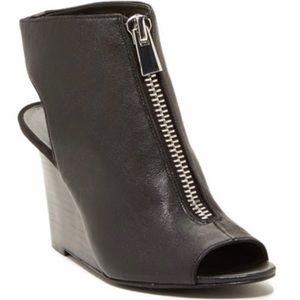 Nine West black Holly Root wedge peep toe bootie